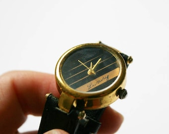 1980's Vintage Watch / Gold and Black Watch / Leather Watch / Minimalist