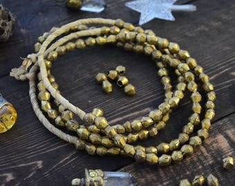 African Bicone Brass Beads, 8-10mm Handmade Brass Spacers, Full necklace, approx. 60 beads / Metal Beads from Benin - Togo, Africa