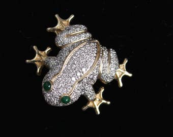 Vintage Diamond 1.2 CT 14K gold Emerald Frog Pendant Brooch Pin 585 Jewelry
