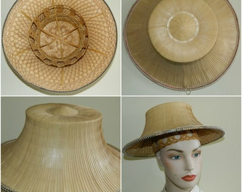 S 40s Exquisite Bamboo Coolie Hat Western Costume Company Asian Japanese Chinese Rice Paddy Hat