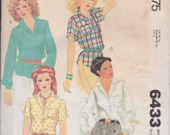 McCall's 6433 Misses' Shirts Size 10 Camp Shirt Vintage UNCUT Pattern 1979 Rare and OOP
