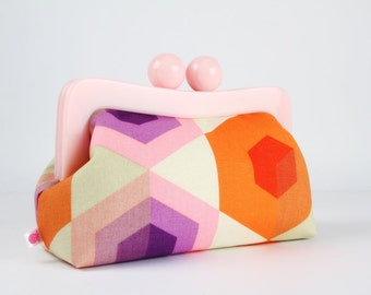 Resin frame clutch bag - Neon hexies in puple and orange - Awesome purse / Pink frame / Japanese fabric / Neon pink orange purple red