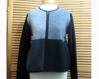 Vintage Gray / Black/ Charcoal Color Block Geoffrey Beene Wool Cropped Sweater/ Monotone Color Block Designer Sweater