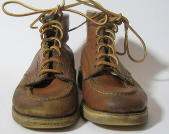 Vintage 1970s Work Boots Hippie Hiking Boots Bilt Rite Womens leather Size 5.5