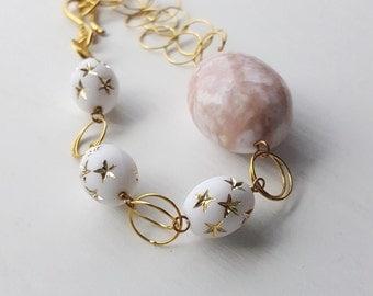 wings of desire bracelet - vintage lucite and brass - gold stars - chain bracelet