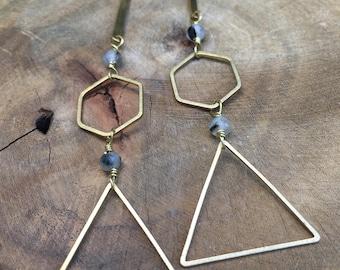 Sale!!! Reg 25.00 sale 20.00 Geometric brass earrings with rutilated quartz