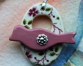 Pink and Green Flower Vine Bird Clasp -  Large Signature Bird Focal Ceramic Toggle Clasp