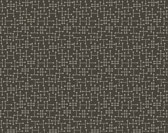 Mid Mod Dark Gray Fabric from Penny Rose Fabrics sold in 1/2 yard increments