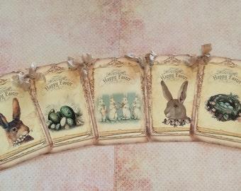 Vintage Bunny Rabbit Easter Spring Banner, Easter Bunny and Nest Vintage Style Garland