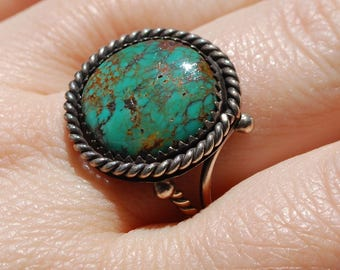 Sterling Silver Turquoise Ring Native American Jewelry Handmade Accessory Boho Spanish Navajo Southwest Indian Taxco Style Fred Harvey