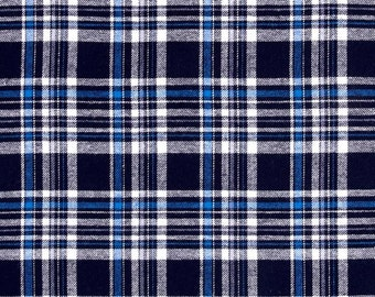 Flannel-Yarn Dyed Flannel Yarn Dyed Flannel Plaid Navy- Blue- White- By The Yard-56 inches wide