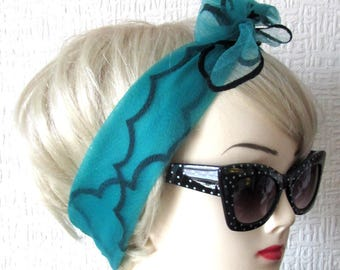 Teal Chiffon Scarf with Scalloped Edges, very Rockabilly, Pin Up.  50s / 60s Vintage