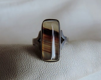 geometric agate ring sterling silver
