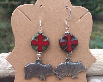 Bacon earrings silver pig milagros earrings pewter pig earring gift for bacon lover gift chef culinary school graduation gift funky earring
