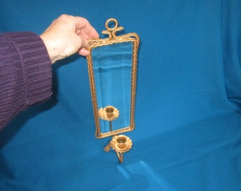 Vintage Hollywood Regency Metal and Beveled Mirror Wall Sconce Candle Holder