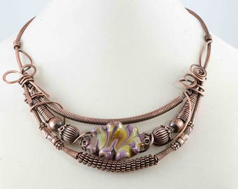 Copper Wire Worked Collar Necklace with Multi Colored Lampwork Bead