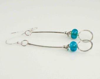 Handmade Turquoise Colored  Lampwork  Bead, Sterling Dangle Artisan Earrings