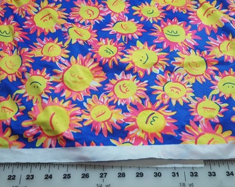 Sun face Yellow and blue spandex just under 1yd