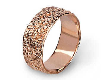 ANTICO 14k Rose Gold Wedding Band Ring, Textured Wedding Band, Unique Wedding band Women, Mens Wedding Band Rose Gold, His and Hers