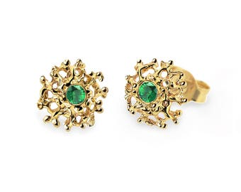 CORAL 14K Gold Earrings Posts Medium, Gold Emerald Posts, Gold Emerald Earrings,  Emerald Studs Earrings, Gold Stud Earrings