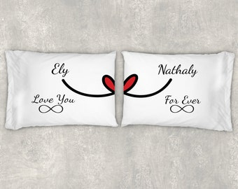 Love You Forever Pillow Cases for Couples, Pillow Cases Standard, Pillow Cases Handmade, Long Distance Relationship Boyfriend Girlfriend