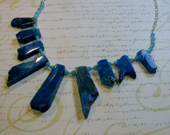 Blue Agate Necklace-20 3/4 inches or 53 cm