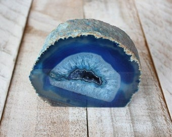 Agate Crystal Mineral Specimen - Blue