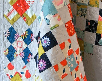 Quilt Baby Toddler Crib Nursery Bedding Picnic Cotton and Steel Scrappy Patchwork Squares Granny Apples Birds Baskets Cot piecesofpine