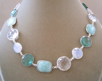 Skyfall -- Aquamarine, Rainbow Moonstone, Rock Crystal, and Aqua Blue Quartz Gemstone Connector Necklace