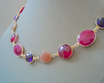 Night Rose -- Red Ruby, Purple Quartz, and Peach Moonstone Necklace