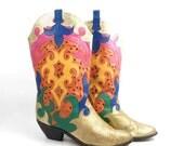 Zalo Cowboy Boots Colorblock Vintage 1980s Colorful Cutout Women's size 9