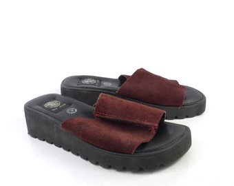 DKNY Jeans Sandals Foam Wedge Vintage 1990s Burgundy Suede Women's size 9
