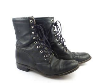Roper Boots Vintage 1980s Diamond J Leather  Black Granny Lace up Packer Women's size 8 B