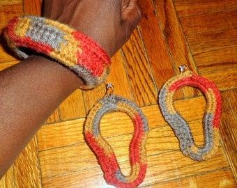 Autumn Summers, Crochet Earrings and Bracelet Jewelry Set