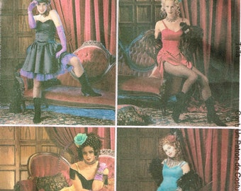 Womans Western Saloon Girl Bustier Skirt Petticoat Halloween Costume Sewing Pattern McCalls 3674 Size 14 16 18 20 Bust 36 38 40 42 Uncut