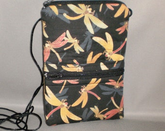 iPhone6 Purse - Passport Purse - Sling Bag - Hipster - Wallet on a String - Dragonfly - Jewel Tone