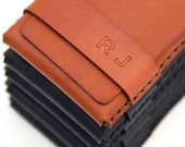 Groomsmen Gift Set, Set of 2 (or more) Slim Leather Wallet / Card Cases - FREE monograms - FREE Shipping