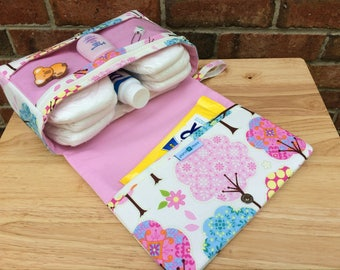 Pretty little trees baby girl nappy bag, diaper bag organizer, new and larger diaper clutch with clear zipper pouch, baby shower gift