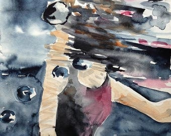 original watercolor painting - swimmer underwater