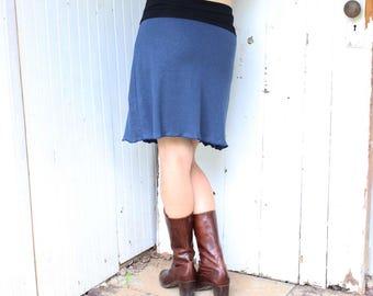 SAMPLE SALE - Hemp Sweet and Simple Skirt - XS/Small - Navy Blue - Organic Fabric - Ready to Ship - Eco Fashion - Summer Short Skirt