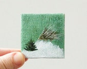 tiny pine / MINIATURE painting on canvas