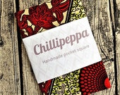 African print pocket square,  Green and Red, Rust cotton pocket square, wedding accessories, mens pocket square