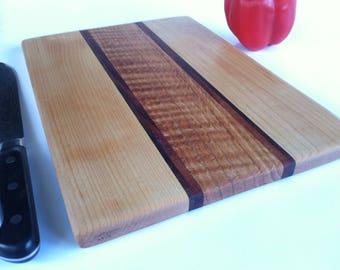 Beautiful RECLAIMED Hardwoods CUTTING BOARD Rock Maple, Black Walnut, Mahogany and Oak