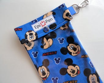 Mickey Mouse Epi Pen Pouch with Vinyl Clear Front Pocket and Swivel Clip 4x8 Holds 2 Adult /Jr. Injector Pens Includes Medical Card