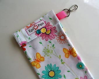 Epi Pen Pouch 4x8 Clear Front Pocket with Swivel Clip and ID Card Holds 1 - 2 Dual Allergy Auto Injector Pens Miller Doodle Daisy Fabric