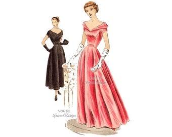 Womens Evening Gown Pattern or Tea Length Dress, 40s Vogue Special Design Pattern S4042 Full Skirt, Portrait Neckline, Unused, Label