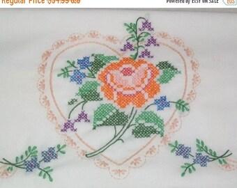 SWEETHEART SALE Vintage Orange Rose Heart Set Standard Pillowcases Embroidered Floral Cottage