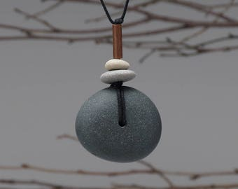 Beach Stone Necklace,  a personal talisman for the nature lover, one of a kind,black