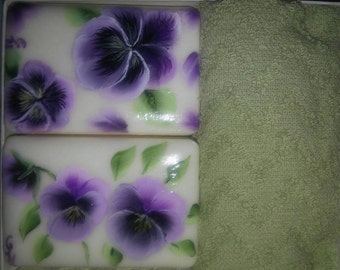 Hand Painted Soap Boxed Set of Soaps with Purple Pansies