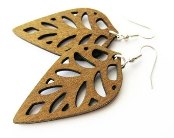 Coffee Brown Stained Wooden Leaf Dangle Earrings
